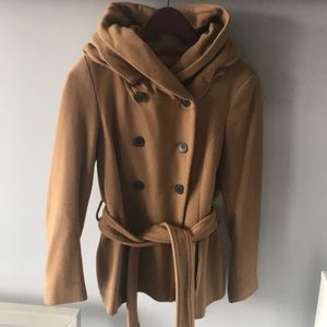 Zara camel wool wrap jacket with hood