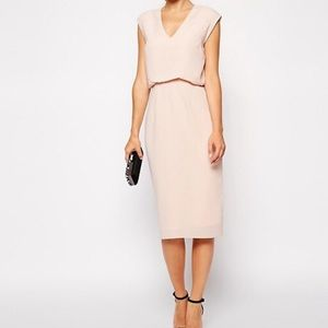 ASOS Pencil Dress with Blouson and Deep V