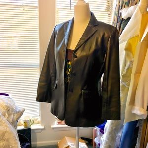 Jones New York bronze-black leather blazer/jacket