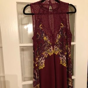 Free People maroon floral asymmetric dress
