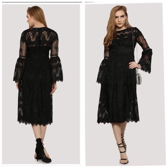 Sale Asos Boohoo Lace Dress Bell Sleeves