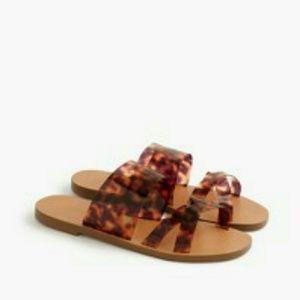 Jcrew Bali tortoise slide sandals 9