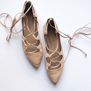 Banana Republic Nude Lace Up Leather Flats