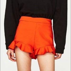 Zara orange ruffle shorts