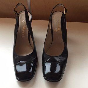 CHANEL black cap toe slingback shoes heels 39.5