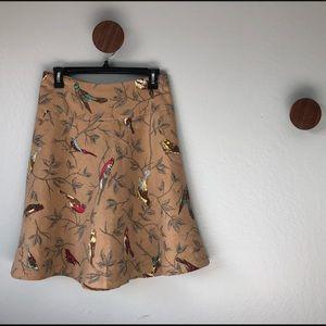 Anthropologie Elevenses Rare Wool Birds Skirt