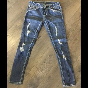 YMI Distressed trendy blue Jeans size 5