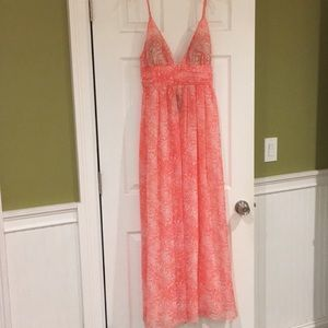 Sexy pink maxi dress