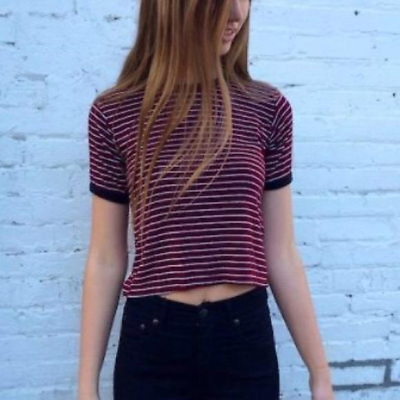 c5eecc3d86 Brandy Melville Tops | Maroon Tshirt With White Stripes | Poshmark