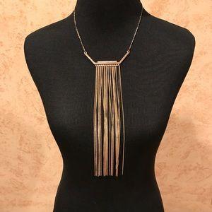 Express Gold tone fringe necklace