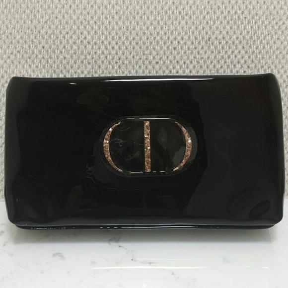 Dior Bags   Christian Black Patent Sparkle Makeup Bag   Poshmark 947c28b8f3