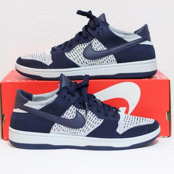 632634a399fcd Nike Dunk Low Flyknit Collegiate Navy Wolf Grey