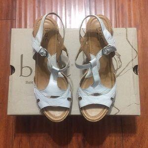 Born concept white wedge sandals