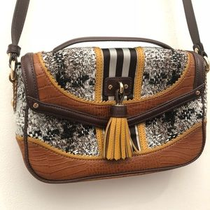 Henri Bendel Leather Tweed Tassel Crossbody Bag