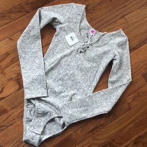 Knit Lace Up Long Sleeve Bodysuit