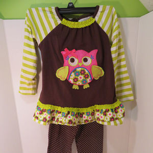 Rare Editions Girls Brown Owl Matching Outfit