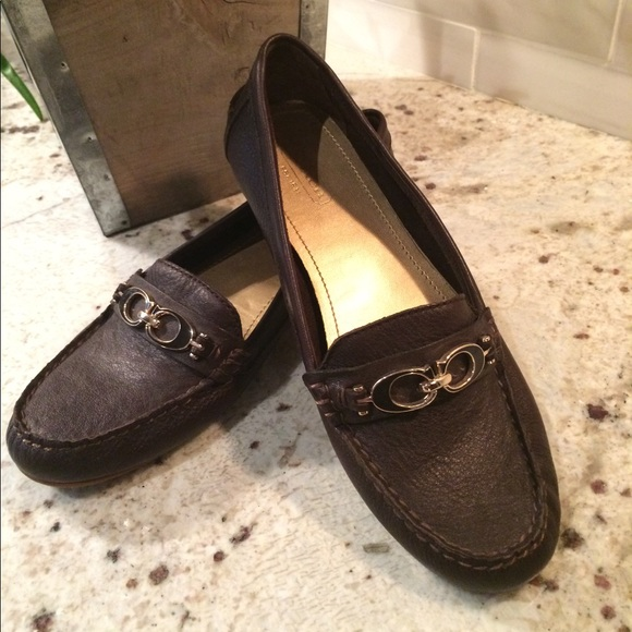 31bb2ee98e9 Coach Shoes - Coach Fortunata brown leather loafers size 7.5