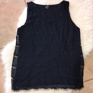 LOFT Navy Tank with a beautiful lace overlay