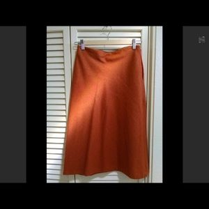 Burn orange fall / winter wool blend skirt