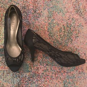 Vintage black lace sheer pumps stiletto heels