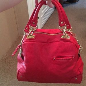 Olivia and joy red/corral satchel bag