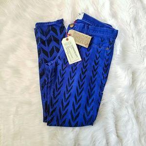 Current Elliot Colbalt Print Jeans