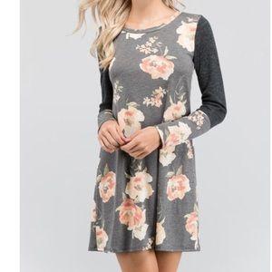 Floral raglan sleeves dress