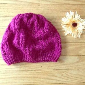 Magenta knit winter hat