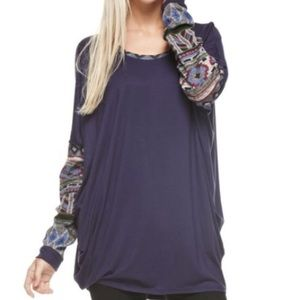 Navy loose fit long sleeve top with Aztec trim