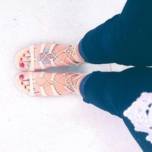 BAMBOO Lace Up Nude Suede Sandal
