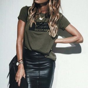 Elizabeth and James Ponte Knit and Leather Skirt