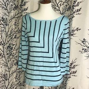 New York & Co. Striped 3/4 Sleeve Sweater