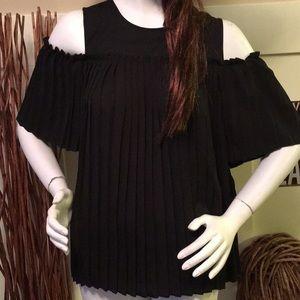 Elle pleated cold shoulder blouse