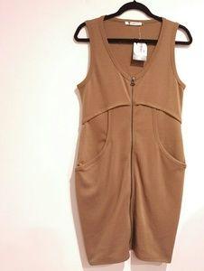 T by Alexander Wang Gray Ponte Zip Bodycon Dress L