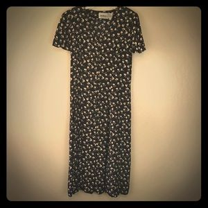 Vintage 90s Floral grunge Maxi Dress Black Size 12
