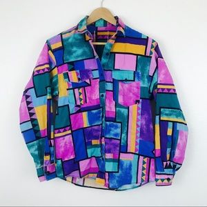80s 90s Geometric Purple Button Down Southwestern