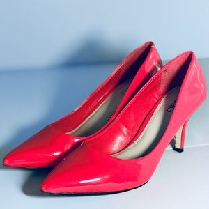 CATO Coral Red Heels Pump Pointy Shoes Size 7.5