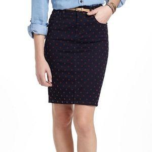 Anthropologie Denim Midi Skirt with Polka Dots