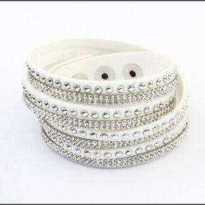 Jewelry - LAST ONE - New Leather Wrap Rhinestone Bracelet