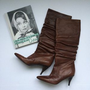 Via Spiga Brown Leather Heeled Boots Size 7