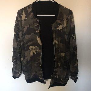 Camo reversible bomber jacket.