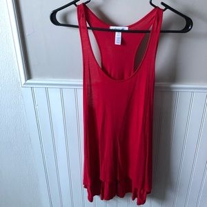 Red gathered back tank top