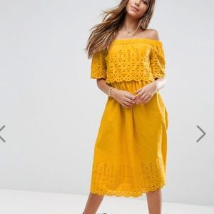 NWT embroidered off the shoulder dress