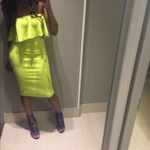 Lime Green Tube Top Dress