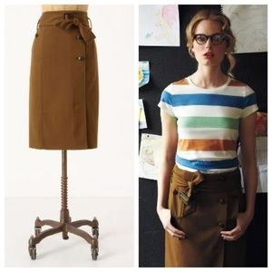 Anthropologie navy trench coat pencil skirt
