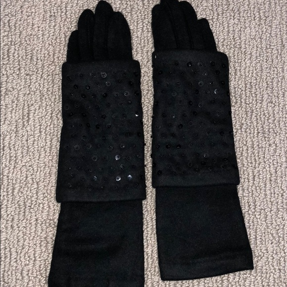 mark Accessories - Women's black dress gloves with black sequins NWT