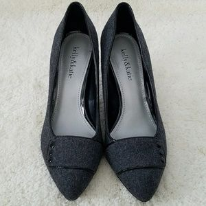 KELLY & KATIE GRAY BLACK TRIM CAREER HEELS 7.5