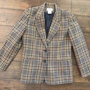 Worthington Plaid Wool Blend Fitted Lined Blazer