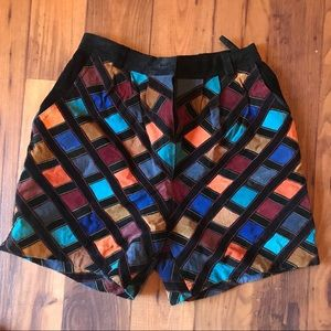 Vintage Multi Colored Suede Shorts