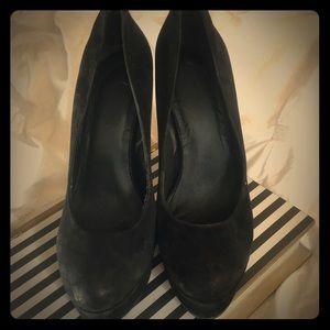 Genuine suede platform heels